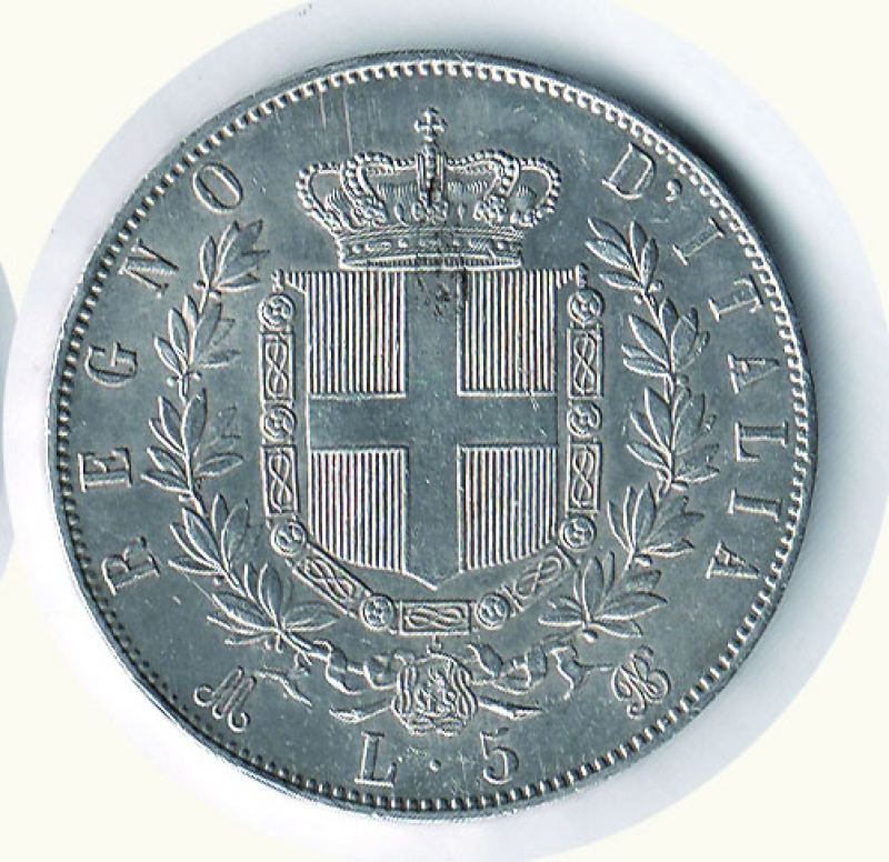reverse: VITTORIO EMANUELE II - 5 Lire 1871 Mi.
