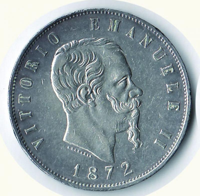 obverse: VITTORIO EMANUELE II - 5 Lire 1872 Mi.
