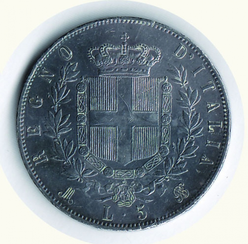 reverse: VITTORIO EMANUELE II - 5 Lire 1872 Mi.