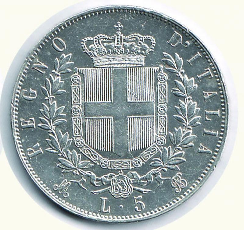 reverse: VITTORIO EMANUELE II - 5 Lire 1875 Mi.