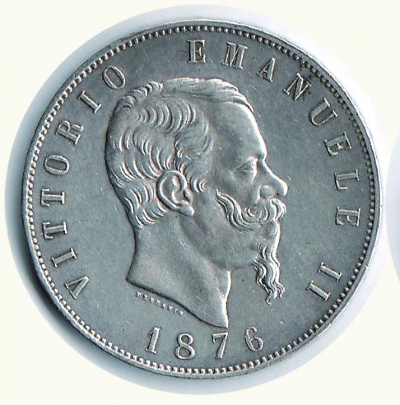 obverse: VITTORIO EMANUELE II - 5 Lire 1876 Mi.