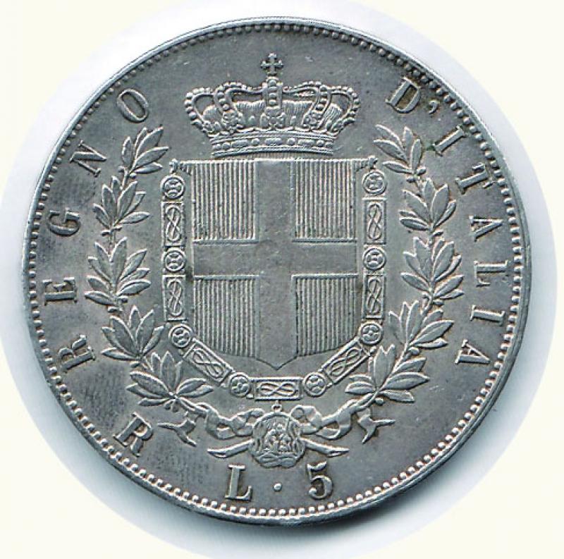 reverse: VITTORIO EMANUELE II - 5 Lire 1876 Mi.