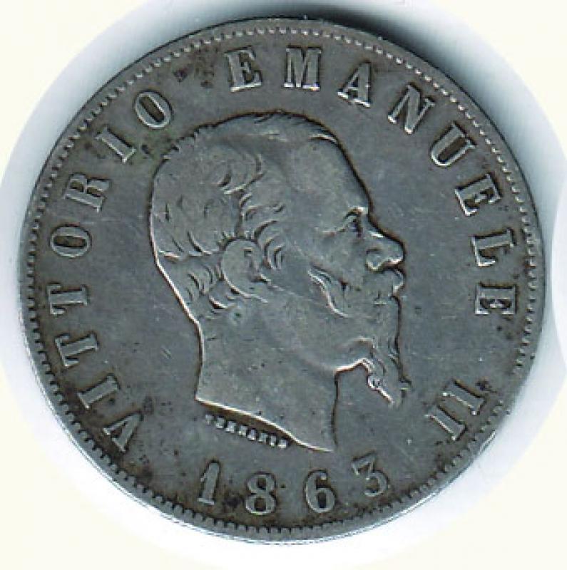 obverse: VITTORIO EMANUELE II - 2 Lire 1863 To - Stemma.