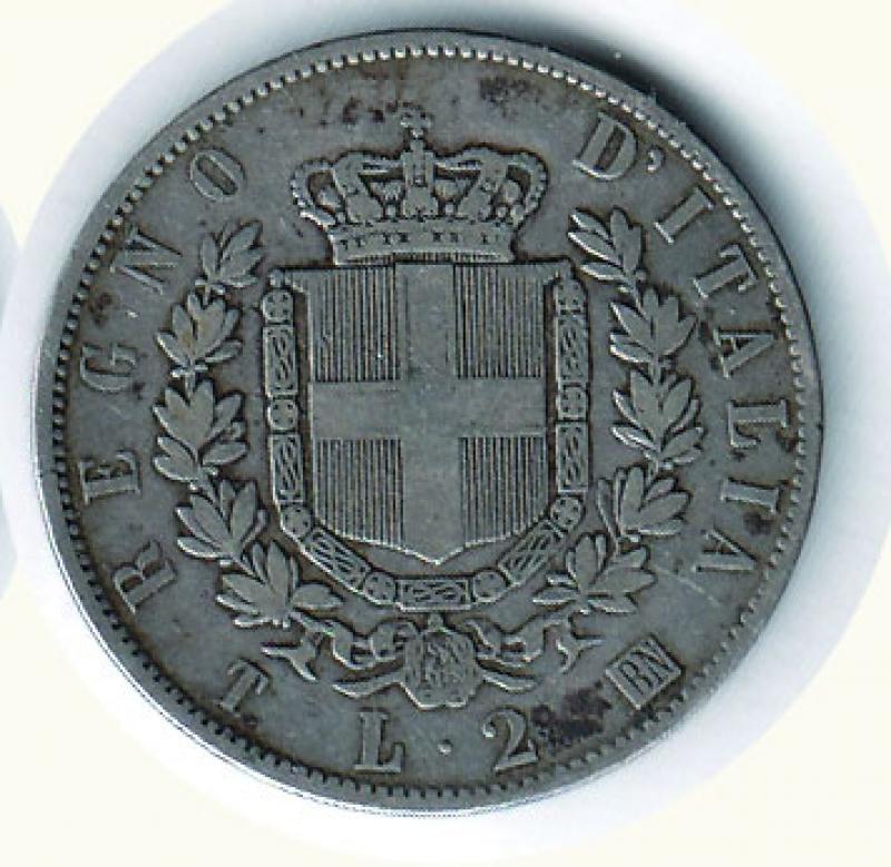 reverse: VITTORIO EMANUELE II - 2 Lire 1863 To - Stemma.
