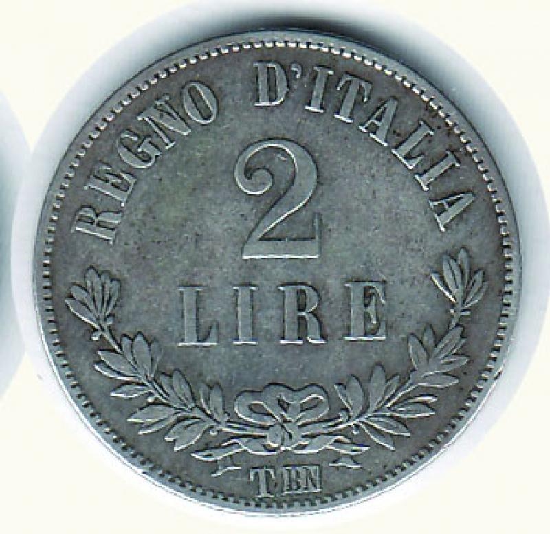 reverse: VITTORIO EMANUELE II - 2 Lire 1863 To - Valore.