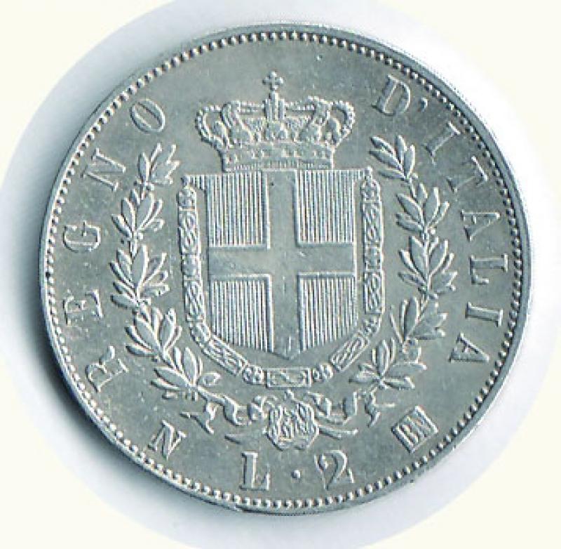 reverse: VITTORIO EMANUELE II - 2 Lire 1863 Na - Stemma.