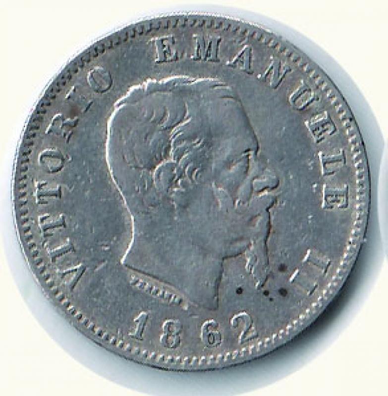 obverse: VITTORIO EMANUELE II - Lira 1862 Na.