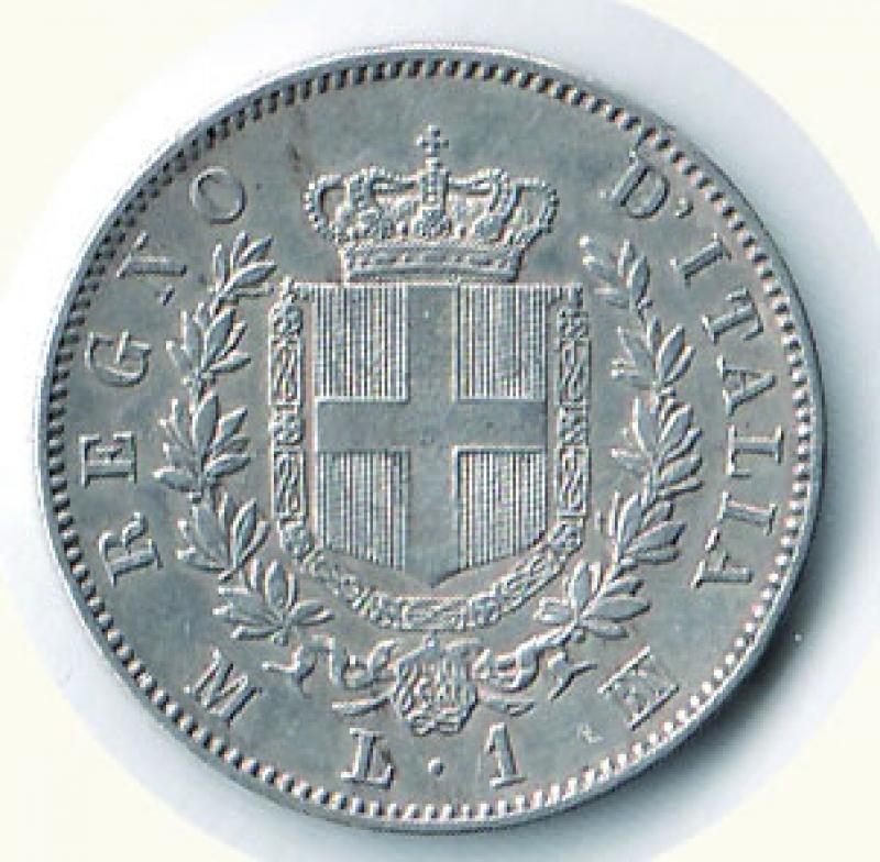 reverse: VITTORIO EMANUELE II - Lira 1863 Mi - Stemma.