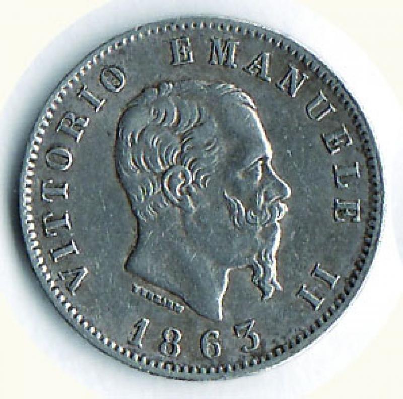 obverse: VITTORIO EMANUELE II - Lira 1863 To.