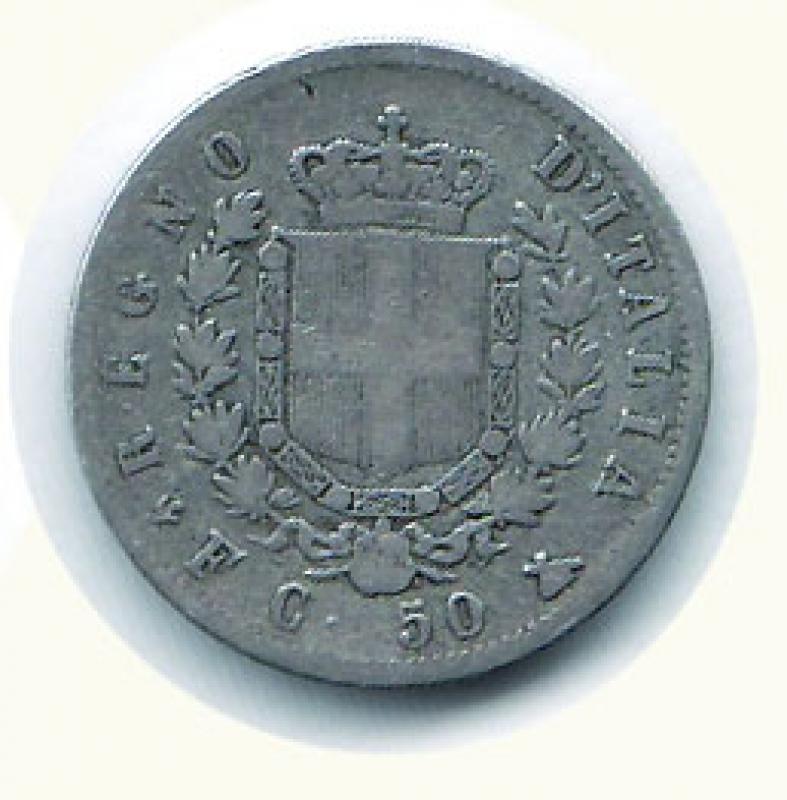 reverse: VITTORIO EMANUELE II - 50 Cent. 1861 Firenze.