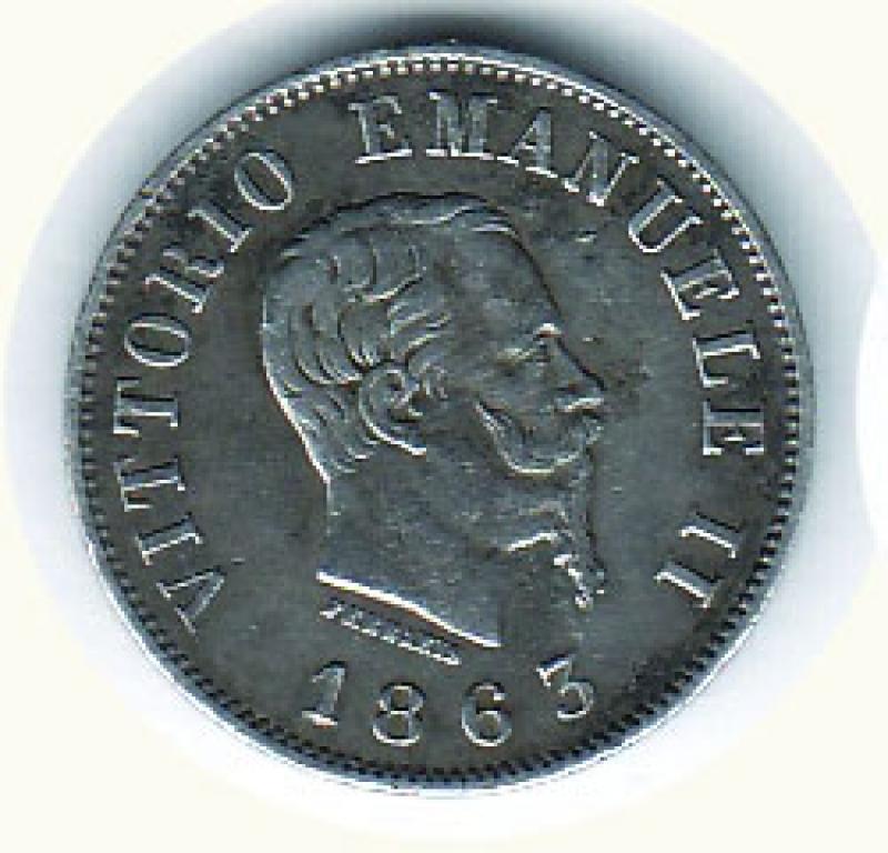 obverse: VITTORIO EMANUELE II - 50 Cent. 1863 Mi - Stemma - Patinata.
