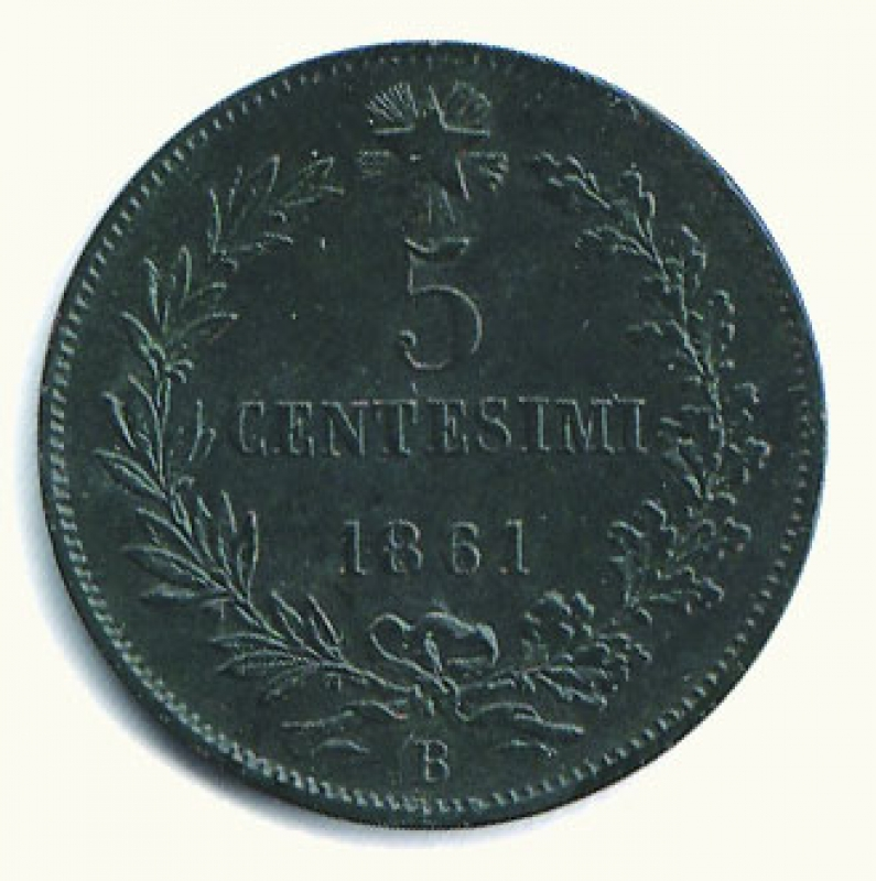 reverse: VITTORIO EMANUELE II - 5 Cent. 1861 Bologna.