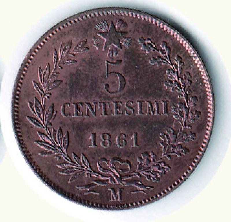 reverse: VITTORIO EMANUELE II - 5 Cent. 1861 Mi.