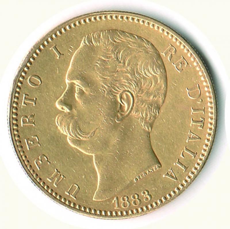 obverse: UMBERTO I - 100 Lire 1883 - Colpetto ripreso ore 9.