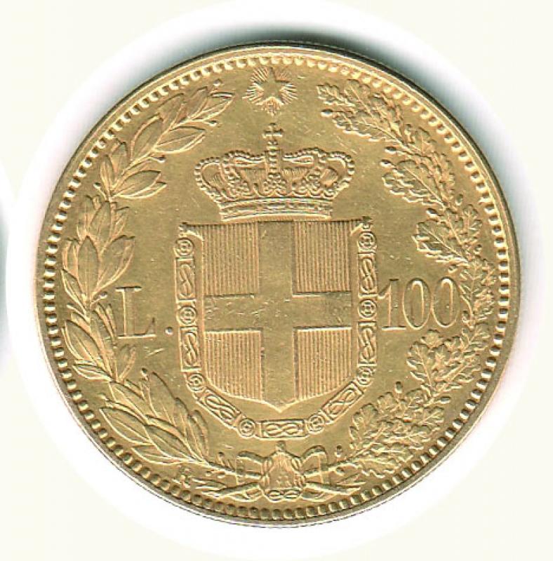 reverse: UMBERTO I - 100 Lire 1883 - Colpetto ripreso ore 9.