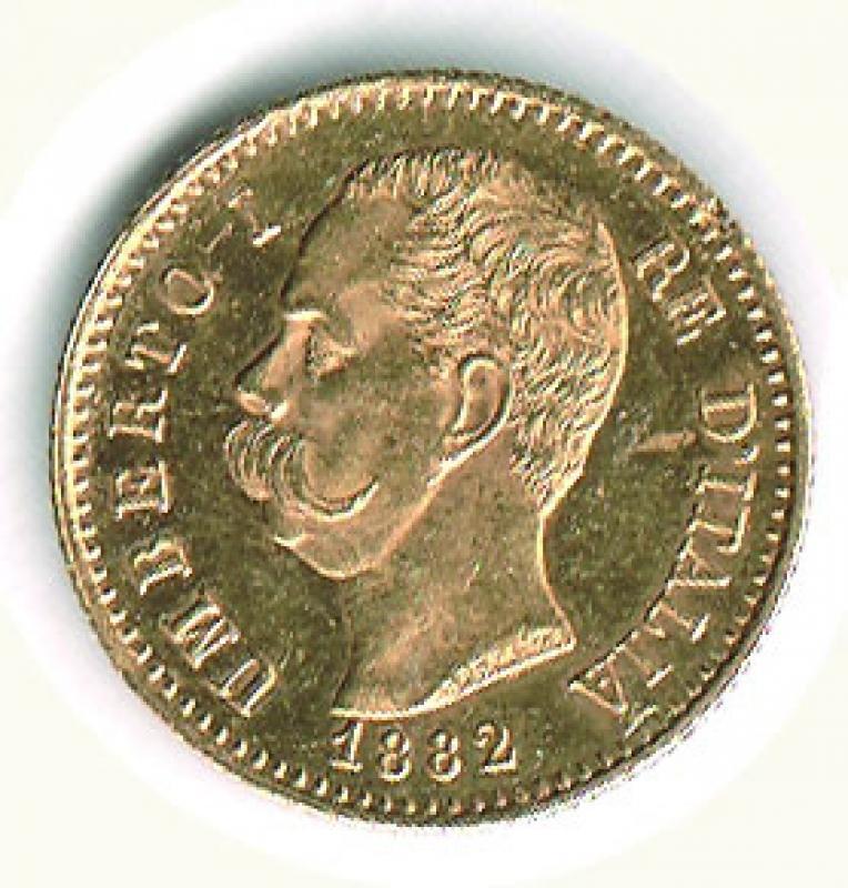 obverse: UMBERTO I - 20 Lire 1882 - Fondi lucenti.
