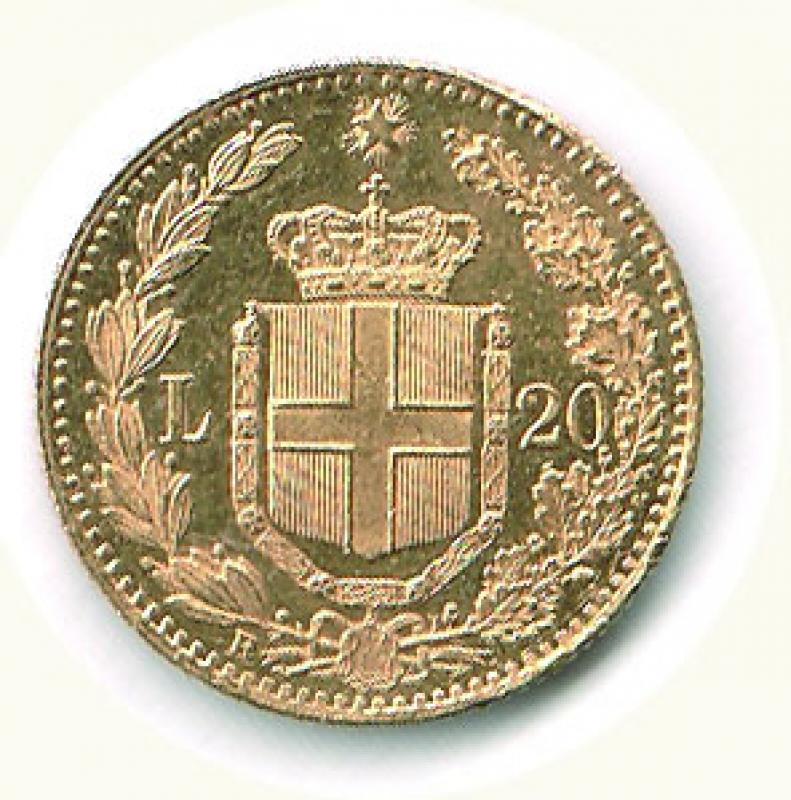 reverse: UMBERTO I - 20 Lire 1882 - Fondi lucenti.
