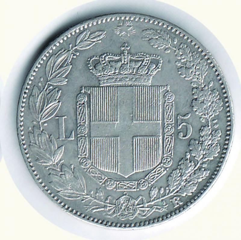 reverse: UMBERTO I - 5 Lire 1879.