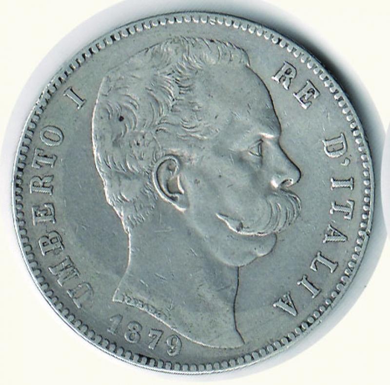 obverse: REGNO D ITALIA Umberto I 5 lire 1879