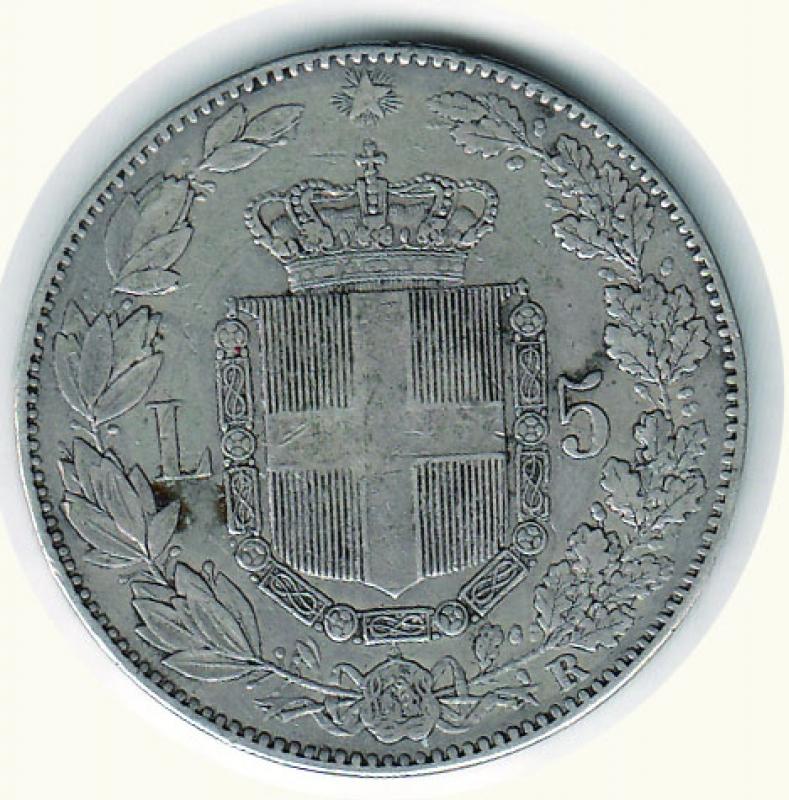 reverse: REGNO D ITALIA Umberto I 5 lire 1879