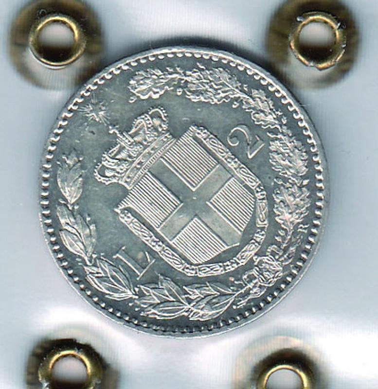 reverse: UMBERTO I - 2 Lire 1886