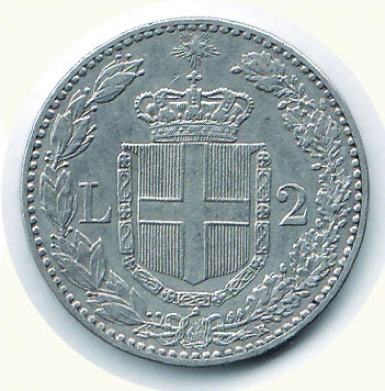 reverse: UMBERTO I - 2 Lire 1897.
