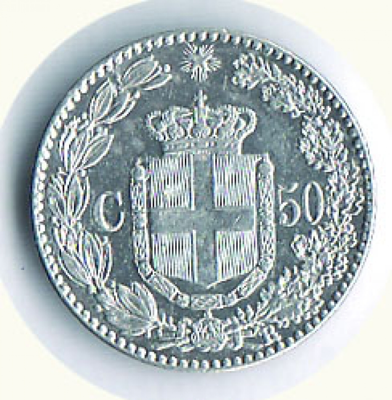 reverse: UMBERTO I - 50 Cent. 1889 -