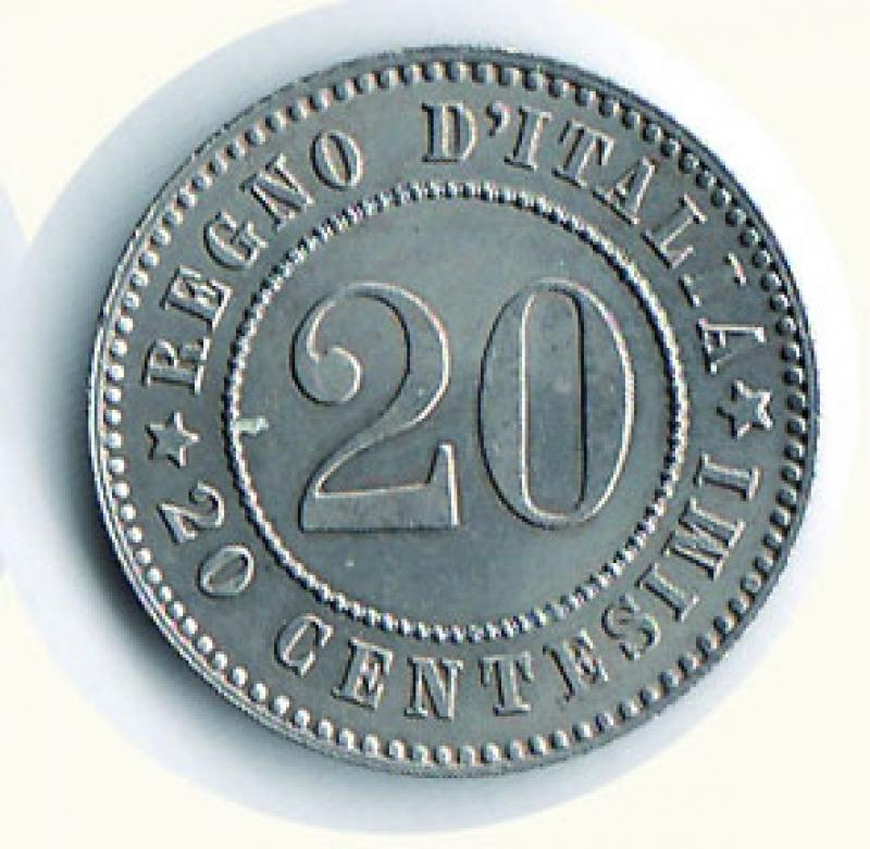 reverse: UMBERTO I - 20 Cent. 1893 KB.