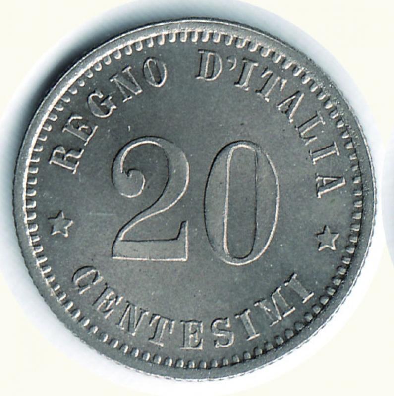 obverse: UMBERTO I - 20 Centesimi 1894