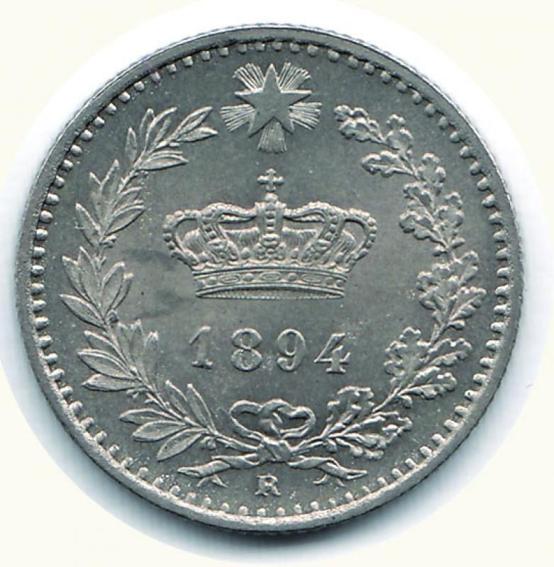 reverse: UMBERTO I - 20 Centesimi 1894