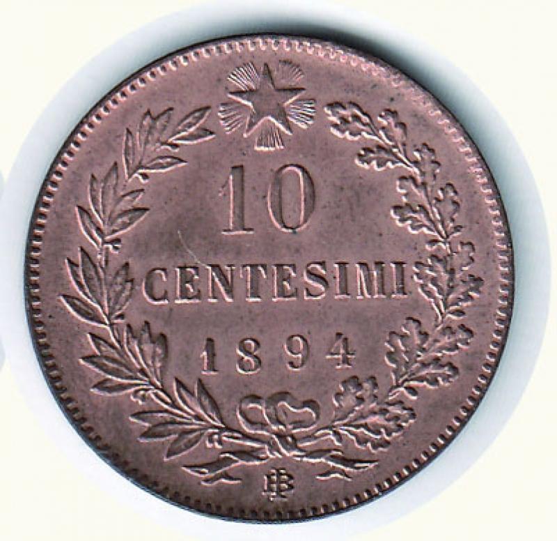 reverse: UMBERTO I - 10 Cent. 1894 - Zecca Birminghan.