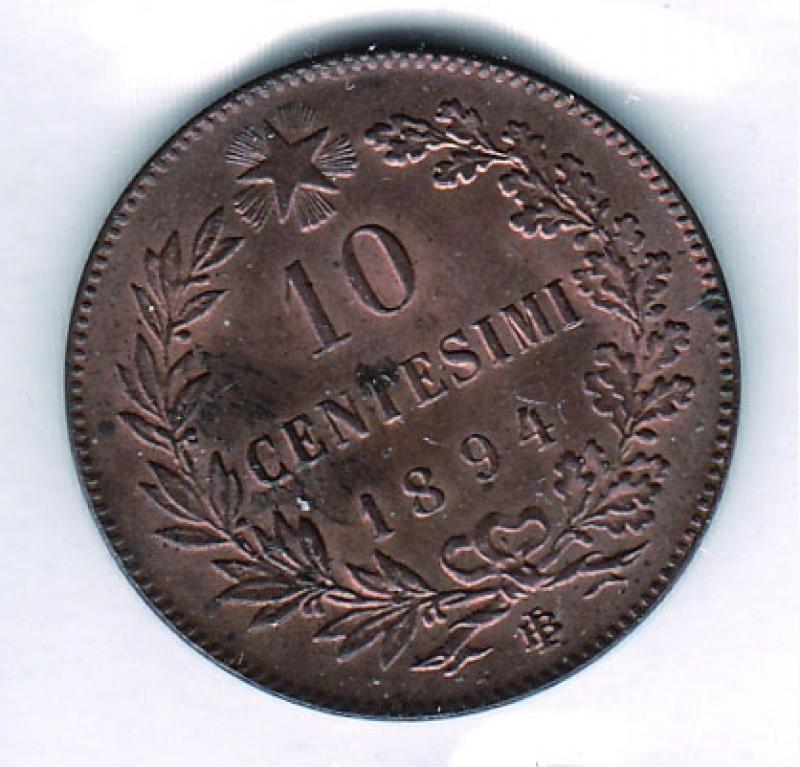 reverse: UMBERTO I - 10 Centesimi 1894