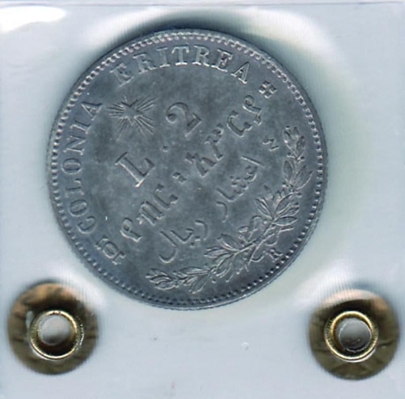 reverse: UMBERTO I - 2 Lire 1890 Eritrea -