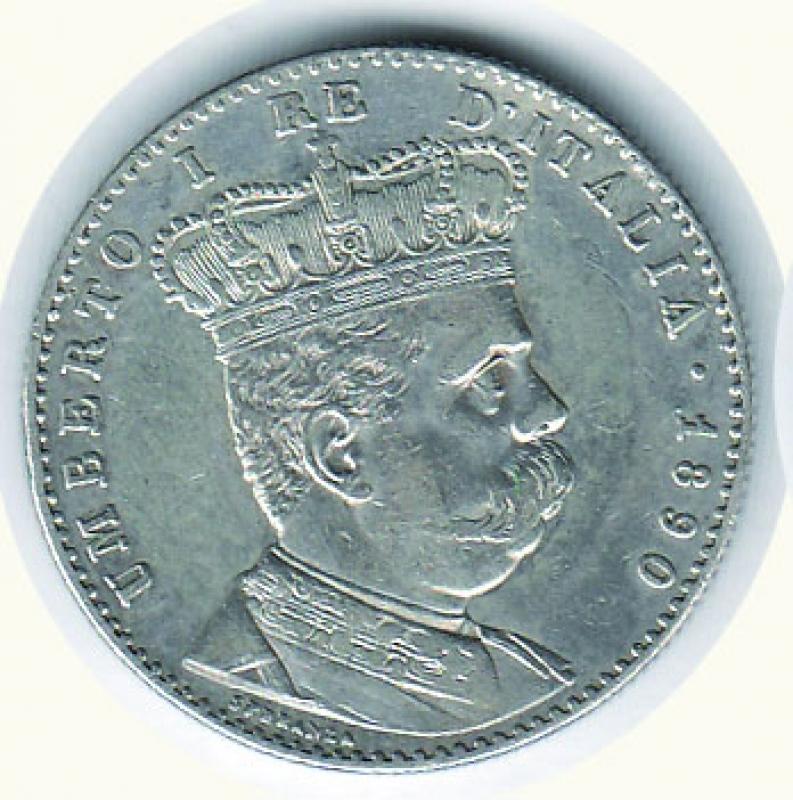 obverse: UMBERTO I - 2 Lire 1890 Eritrea.