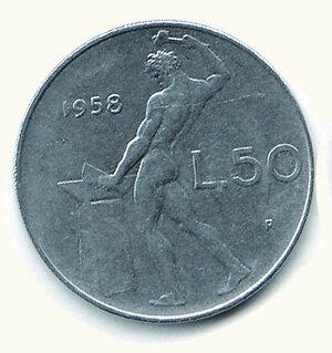 obverse: REPUBBLICA ITALIANA - 50 Lire 1958