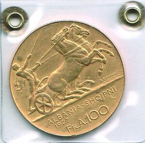reverse: ALBANIA - Zog I - 100 Franga 1927