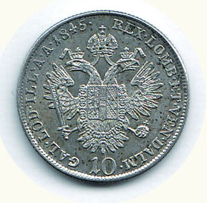 reverse: AUSTRIA - Ferdinando I - 10 Kreuzer 1845 - Zecca A.