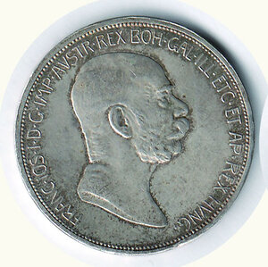 obverse: AUSTRIA - Francesco Giuseppe (1848-1916) - 5 Corone (60° di Regno).