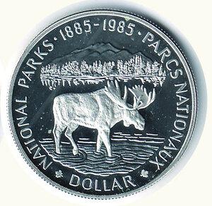 reverse: CANADA - Dollaro 1985 - Centenario Parchi Nazionali