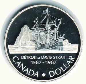 reverse: CANADA - Dollaro 1987 - 400° Stretto di Davis.