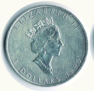 obverse: CANADA - Dollaro 1990 - Foglia d'acero.