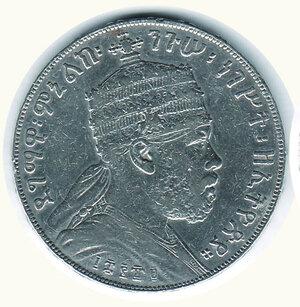 obverse: ETIOPIA - Menelik II - ½ Birr 1889 KM 4.