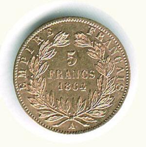 reverse: FRANCIA - Napoleone III - 5 Fr. 1864.