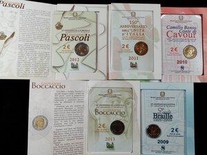reverse: REPUBBLICA ITALIANA - Lotto di 5 pezzi da 2 Euro