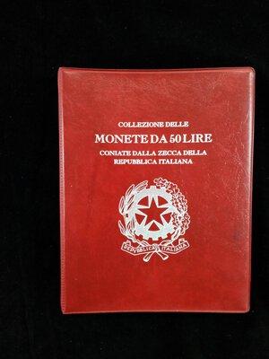 obverse: REPUBBLICA ITALIANA Album contenente 50 monete da 50 Lire