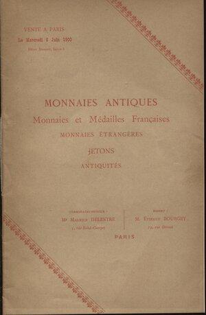 obverse: BOURGEY  E. -  Paris, 6 – Juin, 1900.  Monaies antiques, francaise, jeton et antiquites.  Pp. 21,  nn. 333.  Ril. ed. buono stato, molto raro.