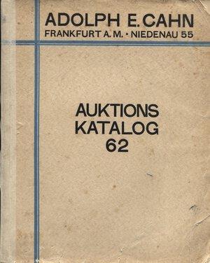 obverse: CAHN  A. E. – Frankfurt A.M. – 15 – Januar, 1929. Rheinische sammlung von munzen des mittelalters und der neuzeit. I teil.  Pp. 131,  nn. 2272,  tavv. 32. Ril. ed. sciupata, interno buono stato, lista prezzi val. raro.