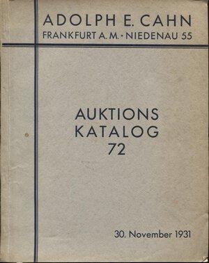 obverse: CAHN  E.  A. -  Frankfurt am Main, 30 – November, 1931.Teil III des herzoglich-anhaltischen Munzkabinetts.  Pp. 76,  nn. 1482,  tavv. 19. Ril. ed. buono stato, lista prezzi val. raro.