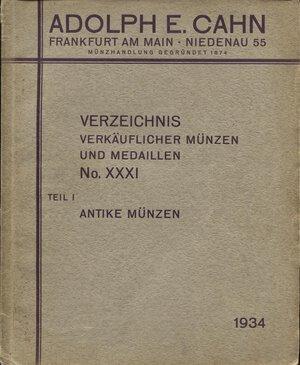 obverse: CAHN E. A. -  Verzeichnis  N.  XXXI. Antike munzen  Teil. I  1934.  Pp. 68,  nn. 2168,  tavv. 4 . ril. ed. sciupata, buono stato, molto raro con tavole.