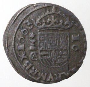 reverse: Spagna. Cuenca. Filippo IV. 1621-1665. 16 Maravedis 1663. Ae.